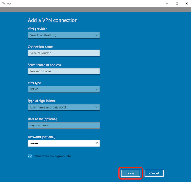 How to configure Windows 10 for IKEv2 step 3