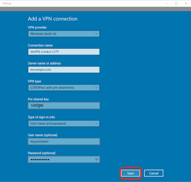How to configure Windows 10 for l2tp step 3