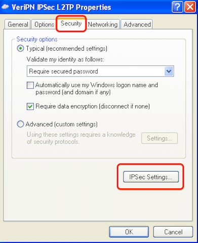 How to configure Windows XP for l2tp step 9